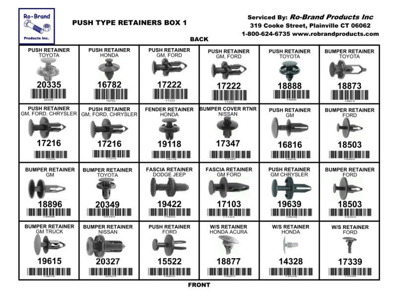 Push Type Retainers Box 1 Assortment